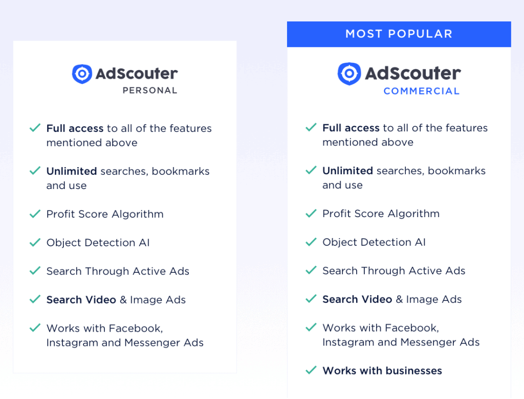 Adscouter ads spy tool pricing