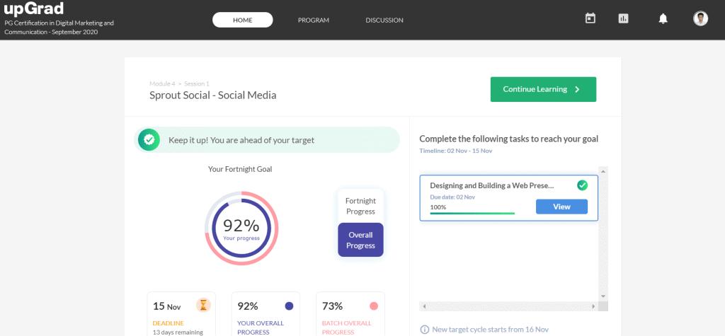 digital marketing course learning platform