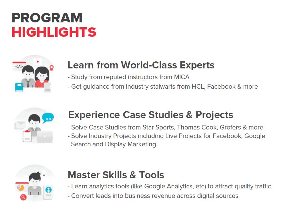 digital marketing course highlights