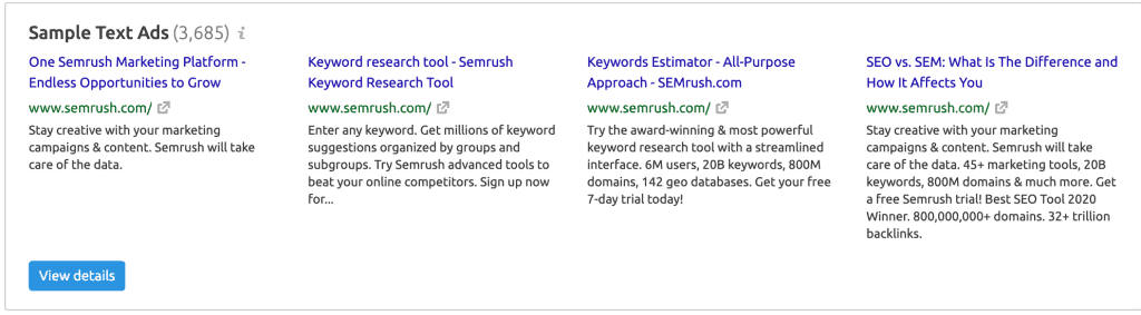 Sample Search Ad Copies